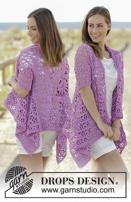 Crochet jacket worked in a square with lace pattern and short sleeves in DROPS Cotton Light. Size: S - XXXL Free pattern by DROPS Design.