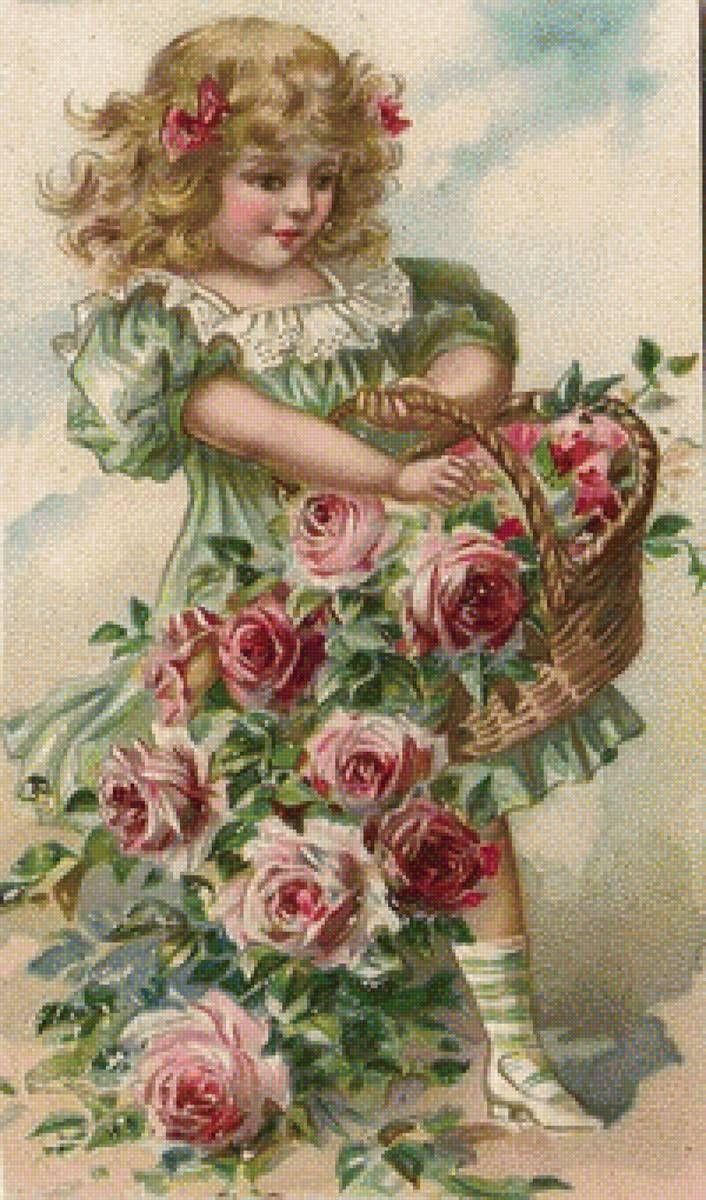 Картинки девочка с цветами в руках винтаж, картинки учитель ученики