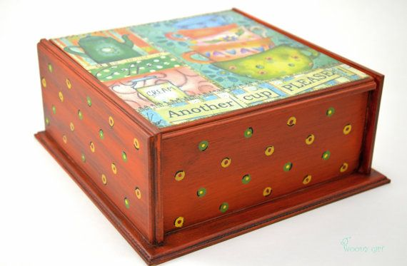 Orange Handmade Wooden Tea Box Another cup please by WoodyGift