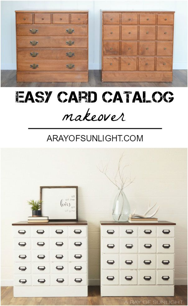 With a router and card catalog hardware, we easily transformed this Ethan Allen Chest of Drawers into an Apothecary Style Dresser.    ...