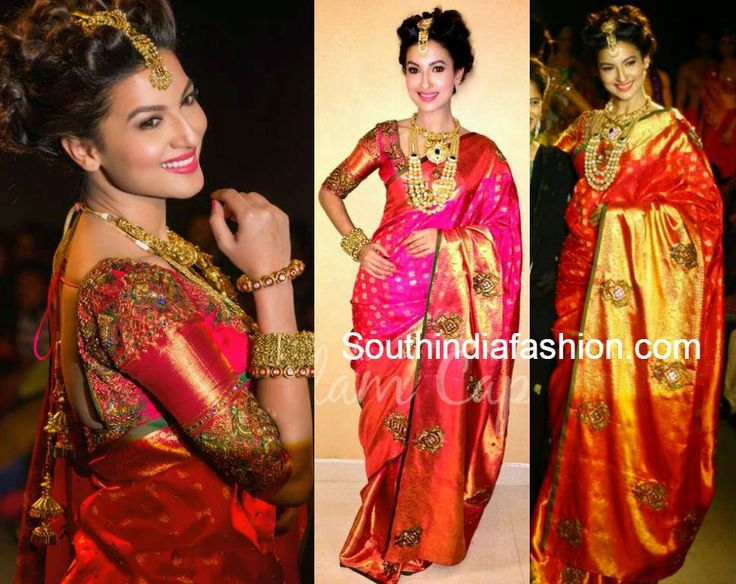 Gauahar Khan in Kanjivaram Saree ~ Celebrity Sarees, Designer Sarees, Bridal Sarees, Latest Blouse Designs 2014
