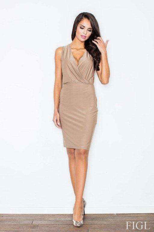 Beżowa ołówkowa sukienka o długości midi