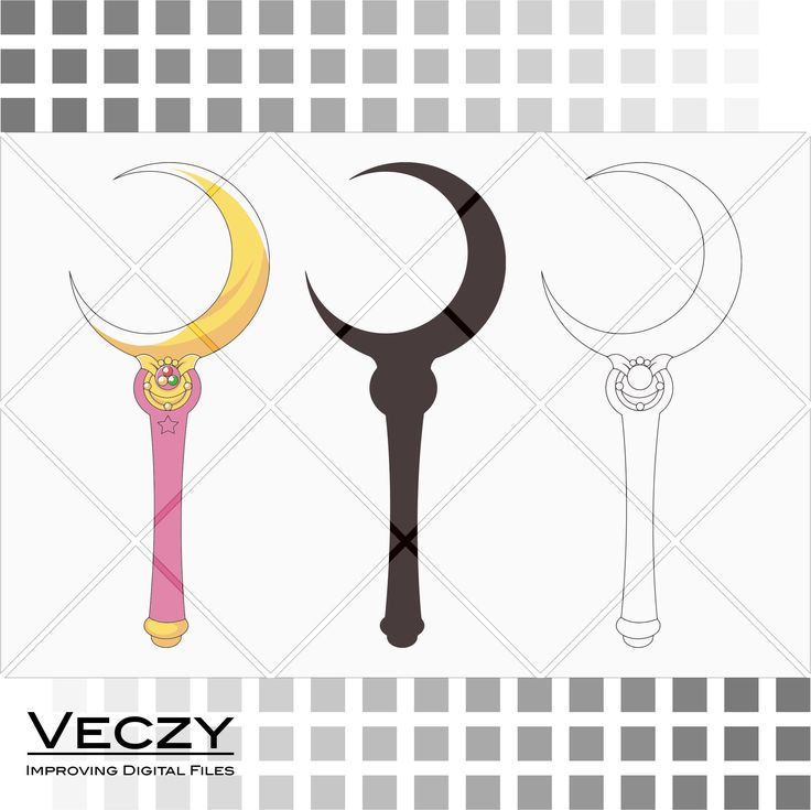 sailor moon, cresent wand, silhouette, svg files for cricut, digital art, eps files, Vector Files, instant download, svg monogram. by Veczy on Etsy