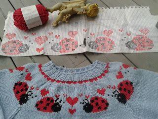 Bentemor sin hobby-blogg!: Strikket genser med marihønebord.