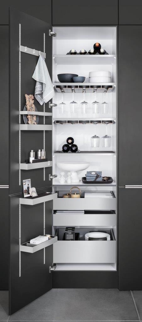Modern Kitchen Closet Organization By SieMatic.