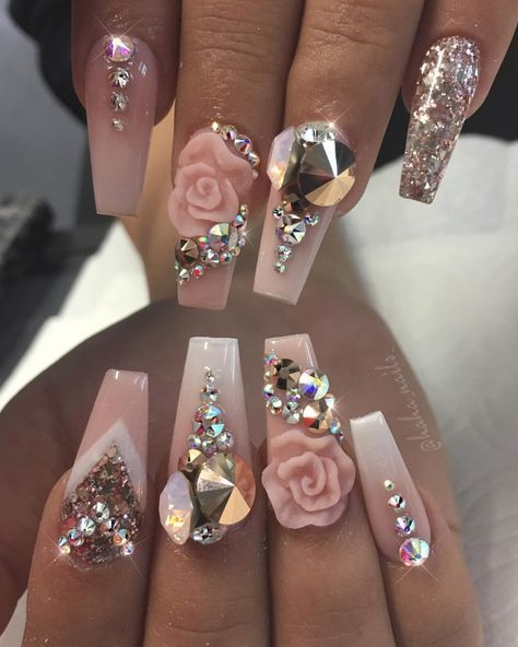 The 25+ best Nails with diamonds ideas on Pinterest | Long ...