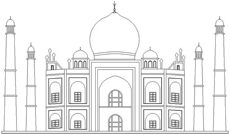taj mahal sketch School beautification