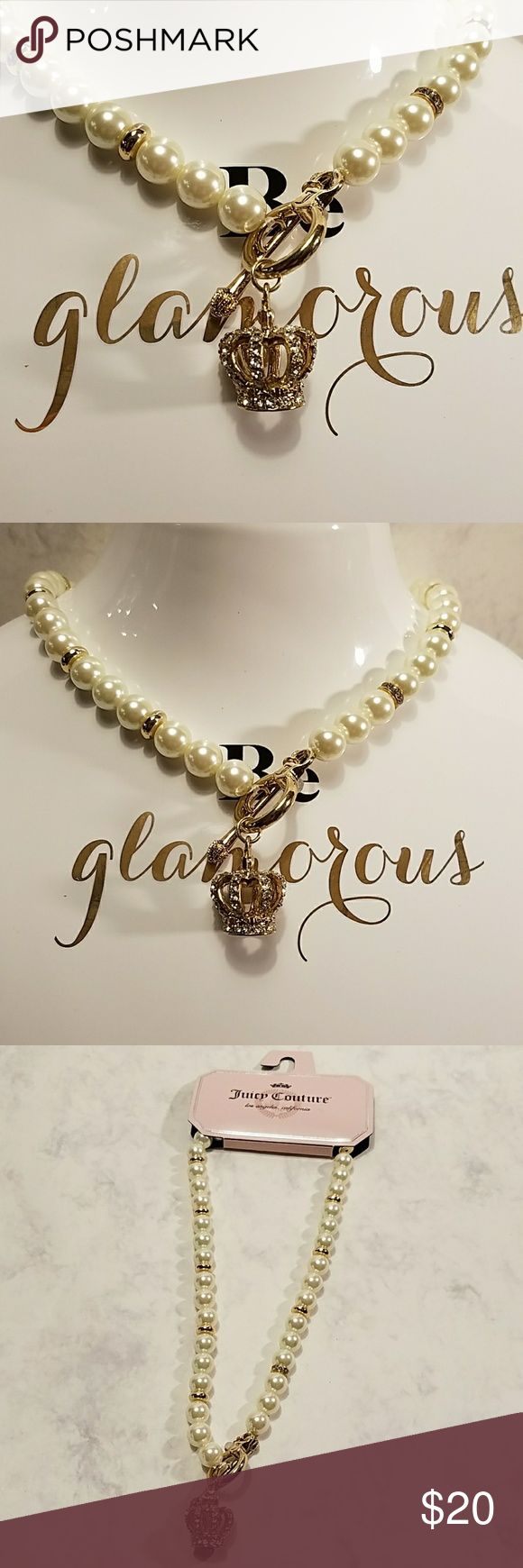 Juicy Couture Faux Pearl & Crown Toggle Necklace Gold Tone Crown simulated crystals Faux white pearl toggle necklace Juicy Couture Jewelry Necklaces