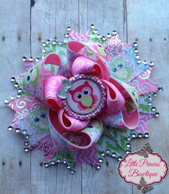 Cute Owls Hair Bow by LilPrincessBowtique8 on Etsy, $12.00