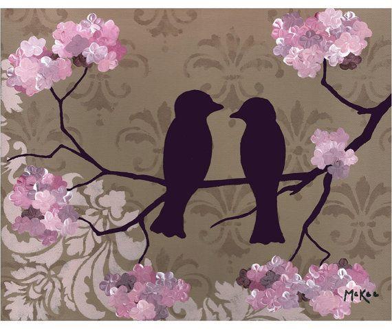 SALE Love birds print romantic art shabby chic by loriamckee, $12.00