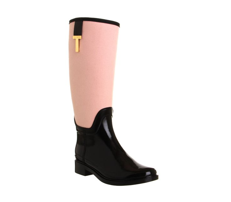 Womens Ted Baker Hiss Welly BLACK NUDE CANVAS Boots