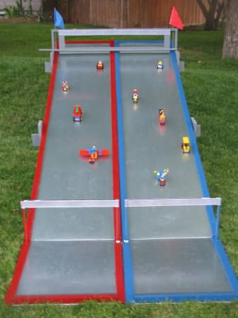 lego track outside. Check out starting mechanism.