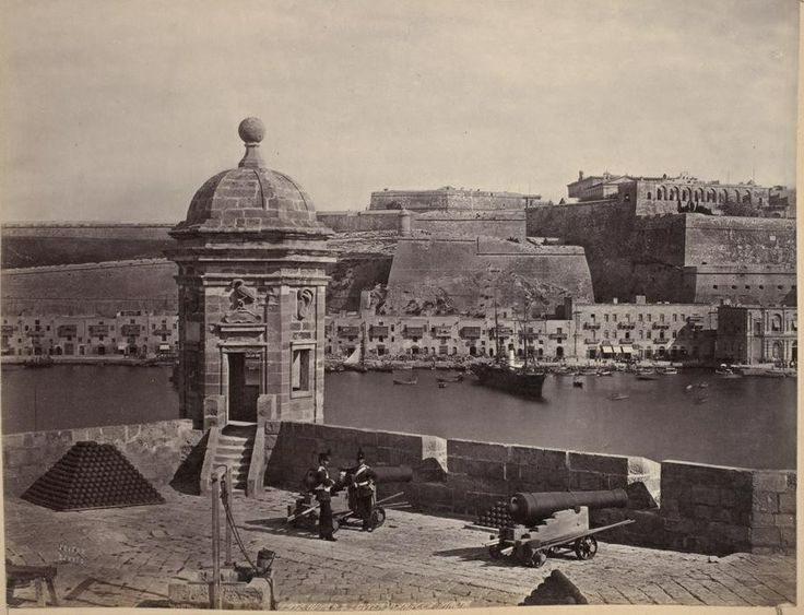 Isola Battery Malta circa 1870s by Francis Frith