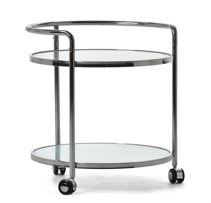 Runt sidobord med hjul som gör bordet lätt att flytta. Underrede i rostfritt stål och skiva i glas. Underhylla i glas med möjligheter till öppen och lättåtkomlig förvaring. Komplettera gärna med soffbord i samma serie.