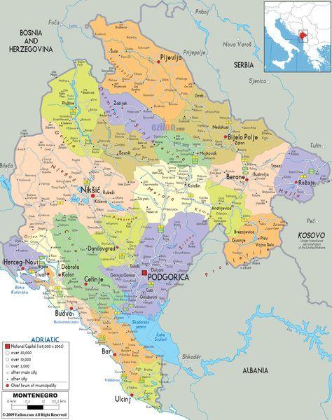 Montenegro Political Map