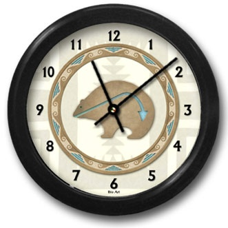 Bear Totem Round Acrylic Wall Clock - From our Southwestern Clocks category, this clock features art work showing a traditional Native American bear fetish symbol.  $38.00