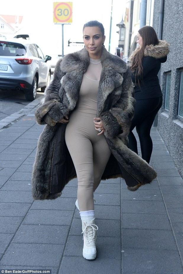 Kim Kardashian wearing Yeezy 950 Boost Shoes in Peyote