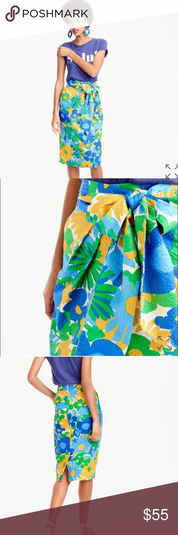 NWT {JCrew} Tie-waist skirt Unworn. Tie-waist skirt in puckered morning floral. Size: 2. Color: Multi J. Crew Skirts Pencil