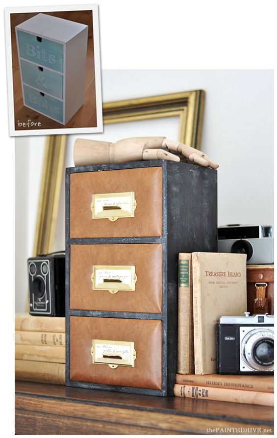 Before and After - DIY Leather Upholstered Mini Dresser Hack | The Painted Hive