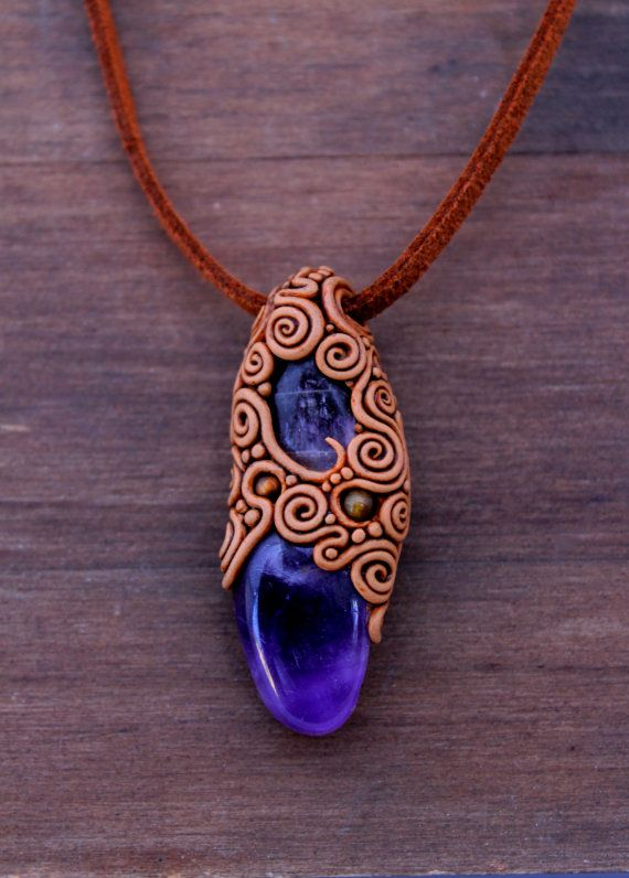 394 best polymer clay jewelry images on pinterest clay cold amethyst stone polymer clay pendent stone jewelry healing stone bohemian mozeypictures Image collections