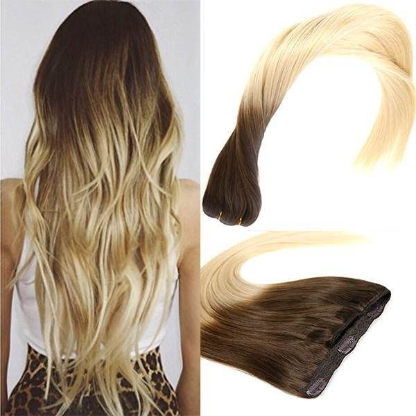 Ombre Brown and Bleach Blonde Clip in Remy Human Hair Extensions #T4/613