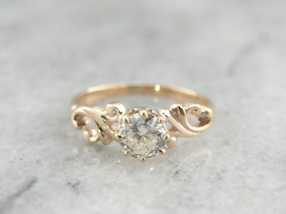 Victorian Antique Mine Cut Diamond, Rose Gold Engagement Ring -
