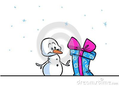 Christmas snowman character wonder gift cartoon illustration isolated image