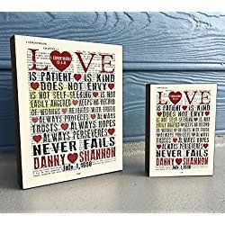Personalized LOVE - 1 Corinthians 13:4-8 Vintage Bible verse Scripture Art Print on Wooden Art Block, Christian Home & Wall Decor Sign, Old Dictionary Page, Custom Wedding-Christmas gift for her