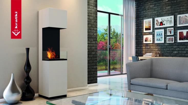 Biofireplace Sierra #kratki #biofireplace #freestanding #interior #white