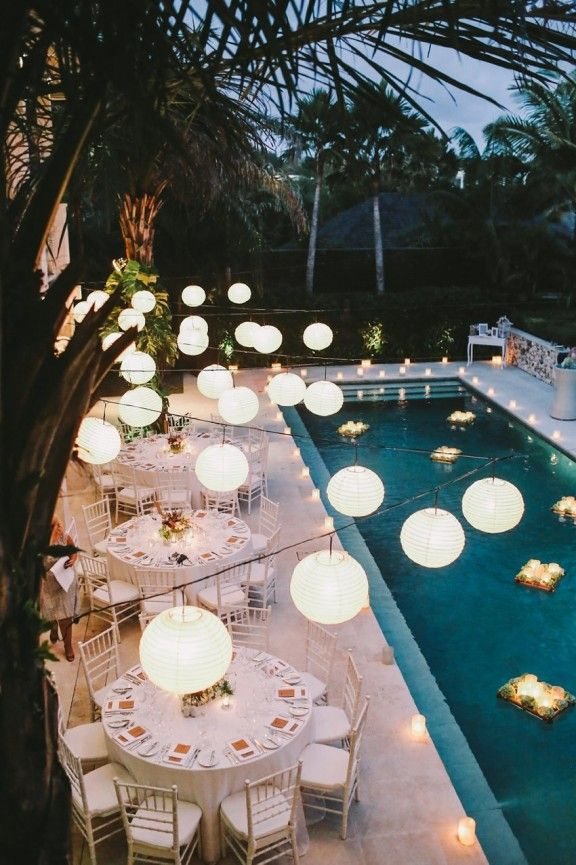 Summer nights, wedding, inspiration, summer wedding, garden lightin, swimming pool