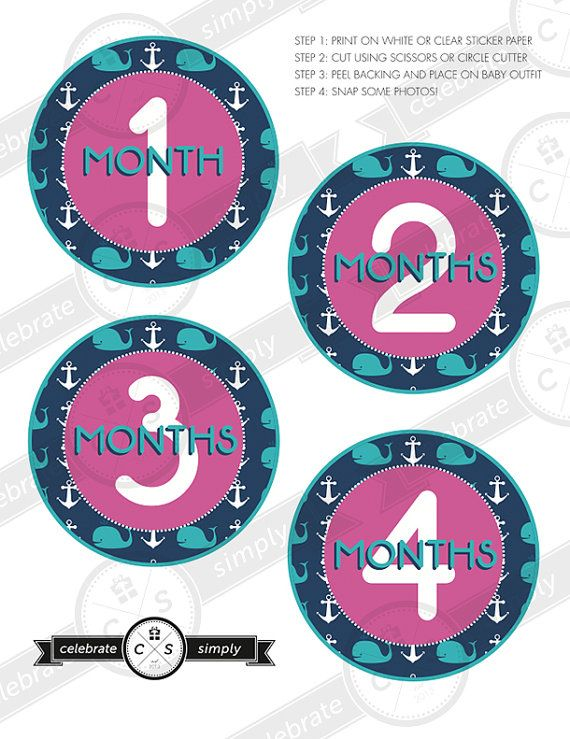 Monthly Baby Milestone Stickers - Whales & Anchors For Girls - INSTANT DOWNLOAD on Etsy, $5.00   Check out our new stickers for boys and girls!!!