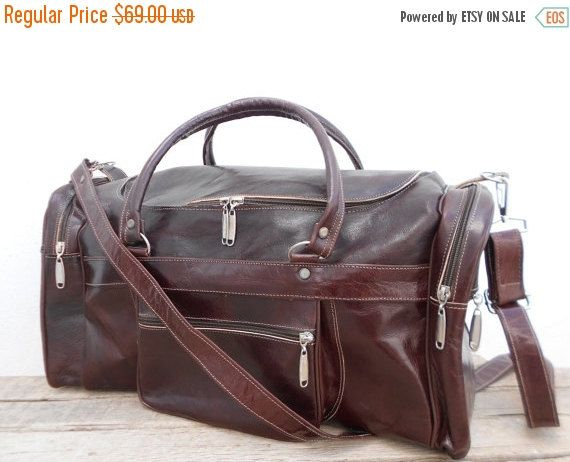 Christmas Gift 15% Off, Dark Brown Leather Duffel Bag, Mens Sports Ditty Utility Travel Weekend Bag, Personalized Luggage Leather bag