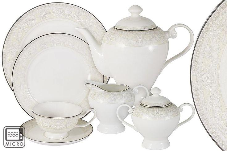 Чайный сервиз из костяного фарфора на 12 персон «Белгравия»      Бренд: Anna Lafarg;   Страна производства: Китай;   Материал: костяной фарфор;   Количество персон: 12;   Количество предметов: 40 шт;   Объем чашки: 175 мл;   Объем чайника: 1,2 л;   Объем молочника: 350 мл;   Объем сахарницы: 350 мл;         Чайный сервиз из костяного фарфора на 12 персон «Белгравия» состоит из 40 предметов:         12 чашек 0,175 л;      12 блюдец;      12 тарелок 21 см;      1 чайник 1,2 л;   …