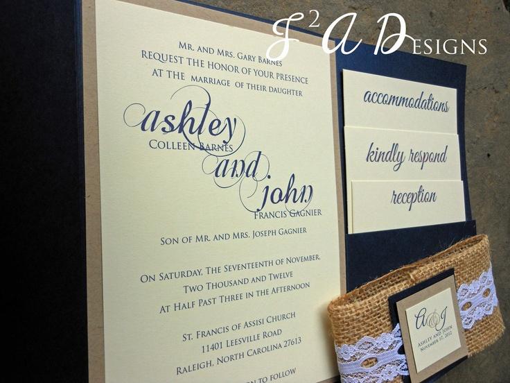 Navy Blue Invitations Wedding: Burlap & Lace Pocketold Rustic Country Wedding Invitation