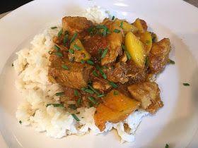 Pilaf met kip, perzik, ketjap en rijst