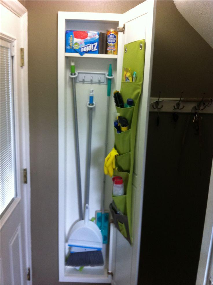 Have a carpenter build a broom closet between wall studs
