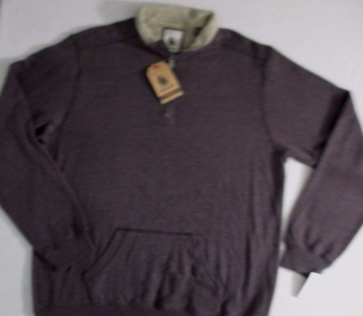 G H Bass Men Sweatshirt 2XLT Brown Solid Fleece 1/2 Zip Cotton Polyester 1700E #GHBass #12ZipSweat