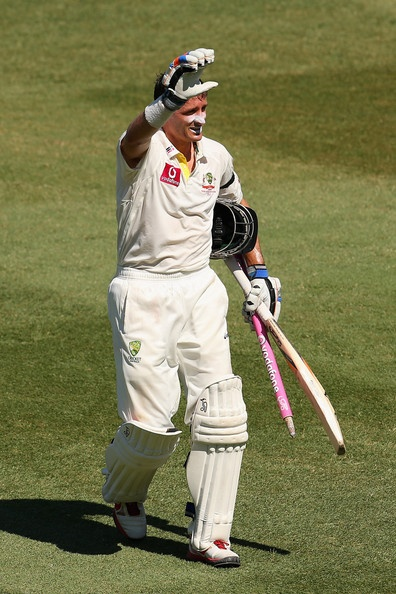 Michael Hussey of Australia thanks the crowd after winning the test during day four of the Third Test match between Australia and Sri Lanka at Sydney Cricket Ground on January 6, 2013 in Sydney, Australia.
