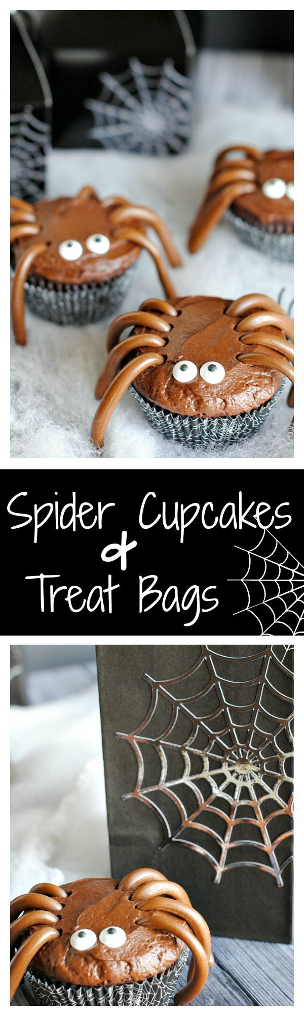 cute easy spider cupcakes and spider web treat boxes - Halloween Decorations Cupcakes