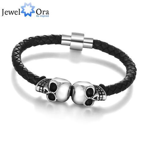 Leather Skull Stainless Steel Bracelet