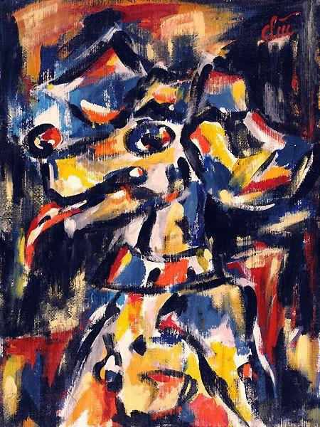 JACQUELINE DITT - Der Bunte Hund A2 gross DRUCK Bild Hunde Kunst art