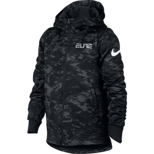 Nike Boys' Therma Elite Basketball Full Zip Hoodie (BLACK/WHITE, Size Large) - Boy's Apparel, Boy's Fleece at Academy Sports