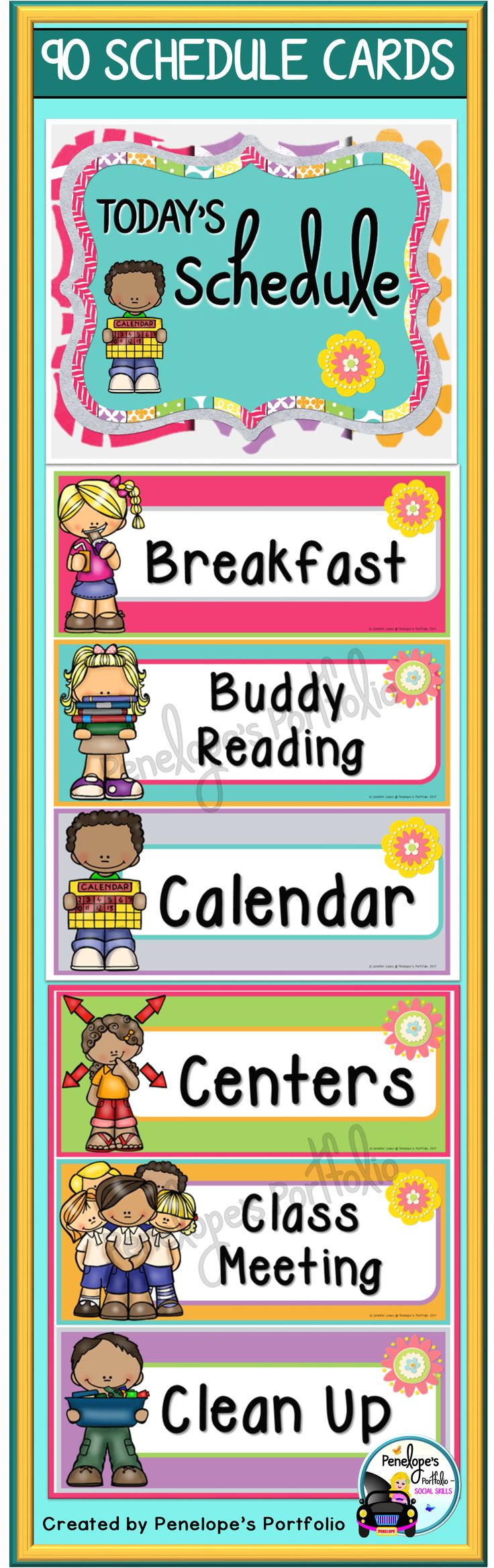 These 90 colorful schedule cards create a visual schedule of daily events in your school classroom. Print & go with the pdf version, or edit text to personalize your own schedule with the editable PowerPoint version. https://www.teacherspayteachers.com/Product/Daily-Schedule-Cards-Editable-3395271
