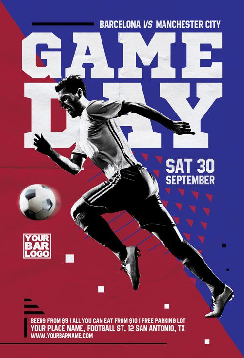 Soccer Game Day Flyer Template Flyer Design Inspirations