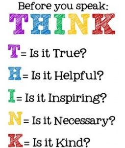 THINK before you SPEAK - great lesson for everyone and a great poster for any grade classroom.