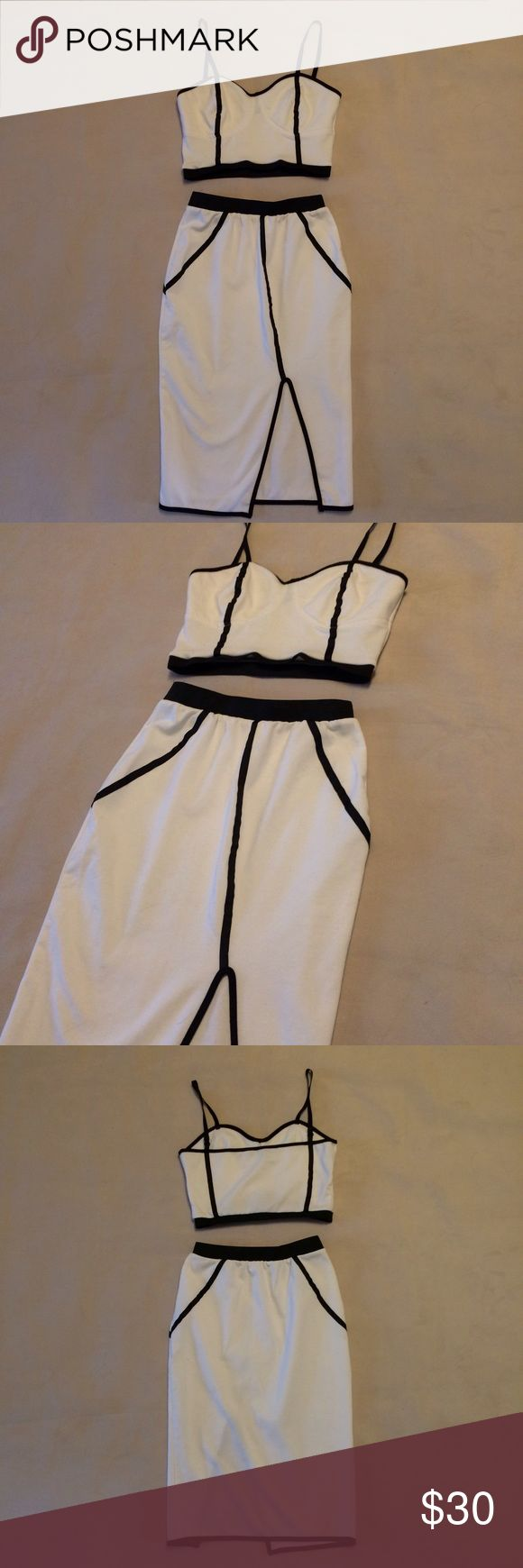 Two piece black and white set Cotton and spandex and elastic, unlined, adjustable straps--skirt can be worn frontwards or backwards--might need to wear skin toned undies as to not show too much 😉 Dresses Mini