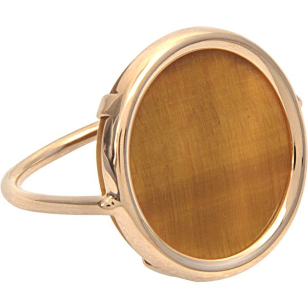 Ginette_ny Ever Tiger Eye disc ring ($666) ❤ liked on Polyvore featuring jewelry, rings, gold, tigers eye ring, tiger eye jewelry, disc ring, ginette ny and disc jewelry