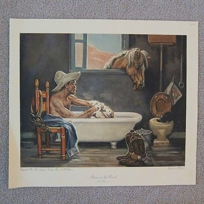 Vintage Lon Megargee Home On The Ranch Print 15 X 17