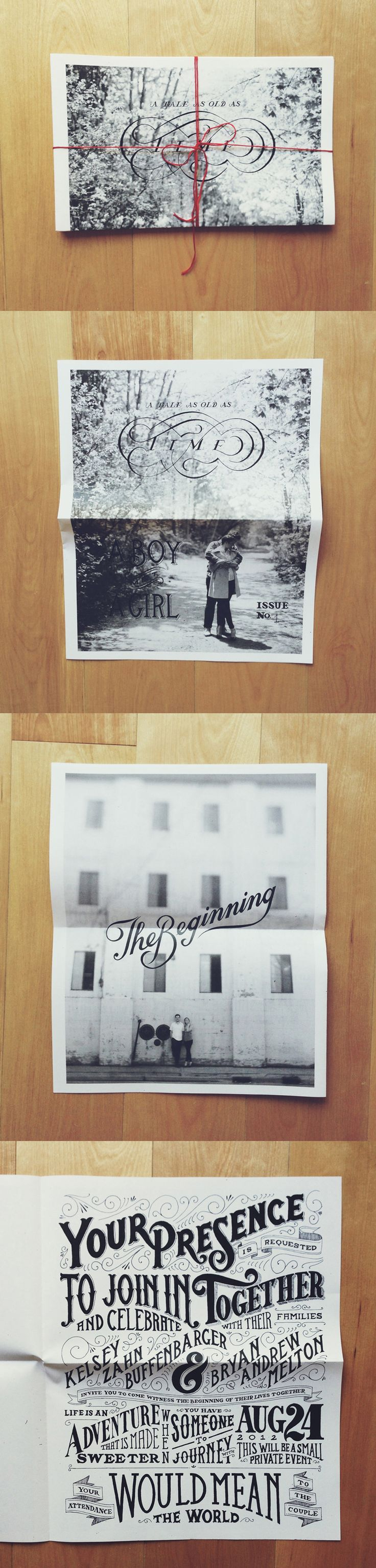 A sweet newspaper style wedding invitation with
