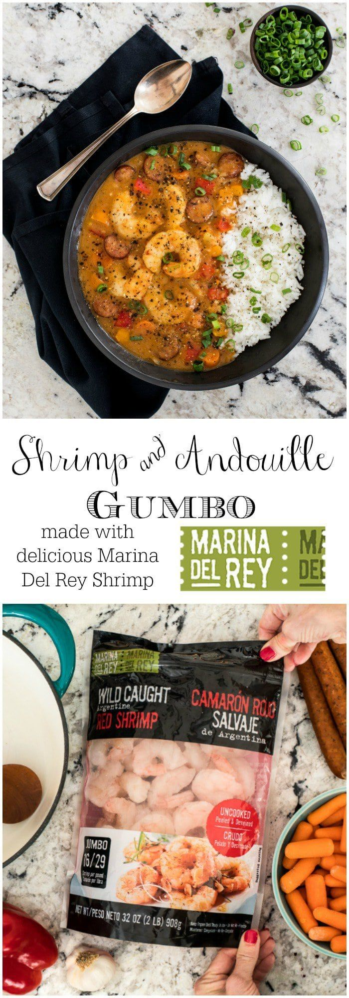 Perfect for entertaining, this Shrimp and Andouille Gumbo is loaded with succulent shrimp, spicy sausage and lots of fresh veggies!   via @cafesucrefarine